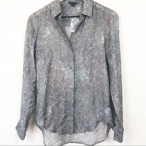 Theory 100% Silk Button Up Galaxy Abstract Blouse